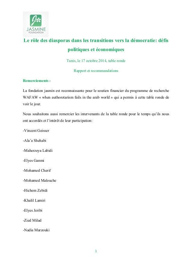 Le rôle des diasporas dans les transitions vers la démocratie: défis  politiques et économiques  Tunis, le 17 octobre 2014...