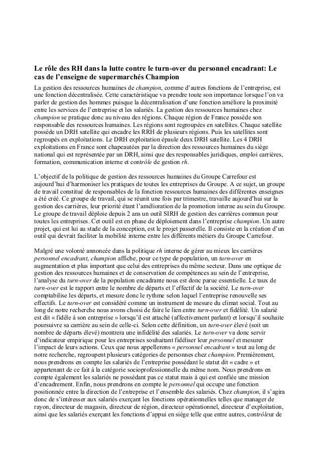 Le rôle des RH dans la lutte contre le turn-over du personnel encadrant: Le cas de l'enseigne de supermarchés Champion La ...