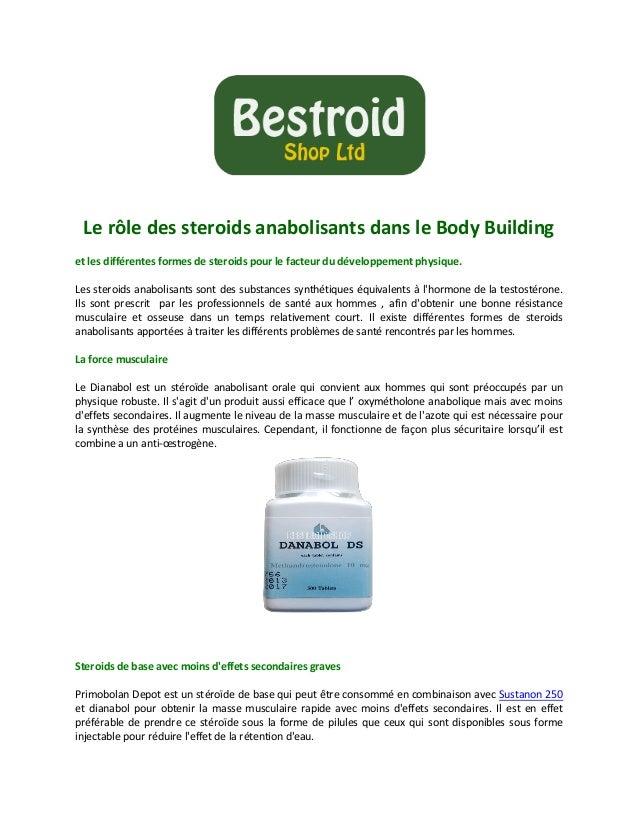 Le rôle des steroids anabolisants dans le Body Building et les différentes formes de steroids pour le facteur du développe...