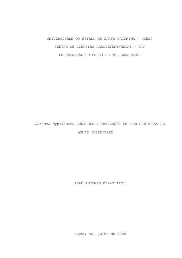 UNIVERSIDADE DO ESTADO DE SANTA CATARINA – UDESC CENTRO DE CIÊNCIAS AGROVETERINÁRIAS – CAV COORDENAÇÃO DO CURSO DE PÓS-GRA...