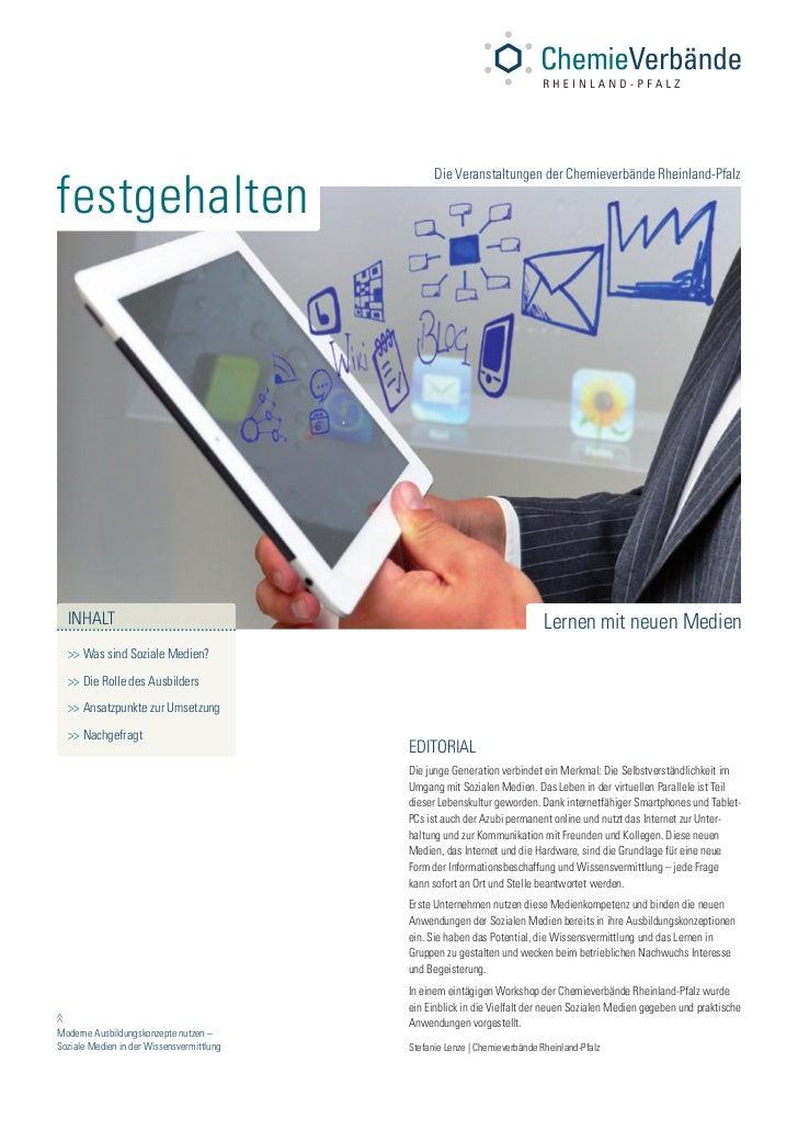 festgehalten                                                 Die Veranstaltungen der Chemieverbände Rheinland-Pfalz     IN...