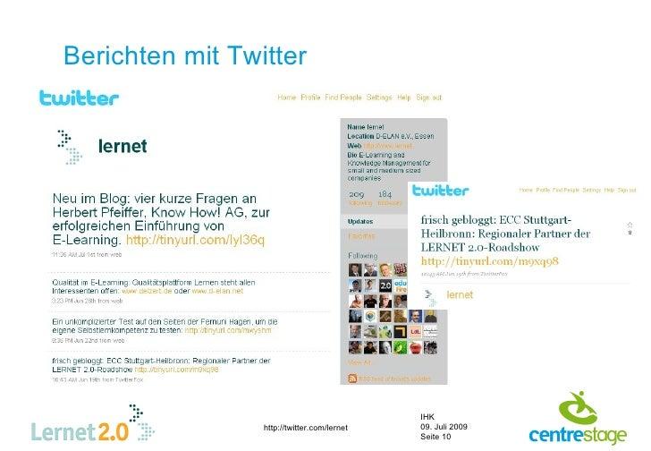 Berichten mit Twitter                                                  IHK                  http://twitter.com/lernet   09...