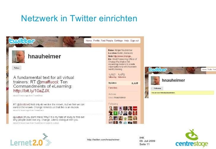 Netzwerk in Twitter einrichten                                                      IHK                  http://twitter.co...