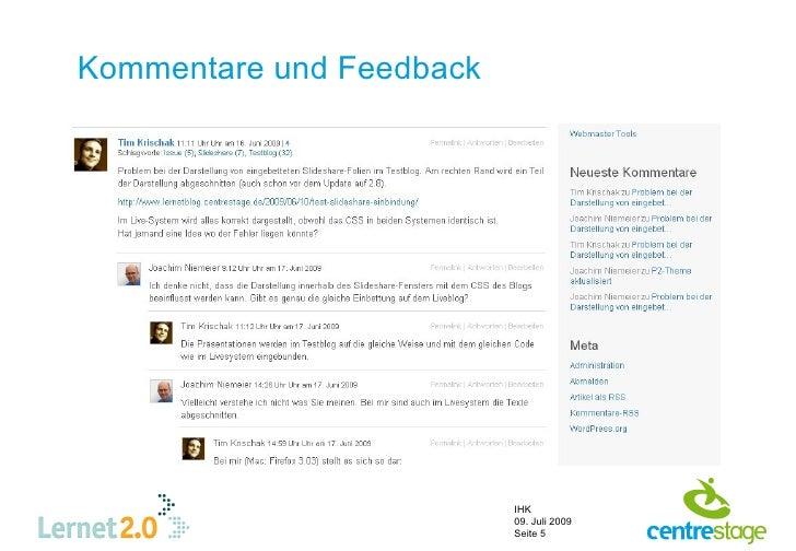 Kommentare und Feedback                               IHK                           09. Juli 2009                         ...