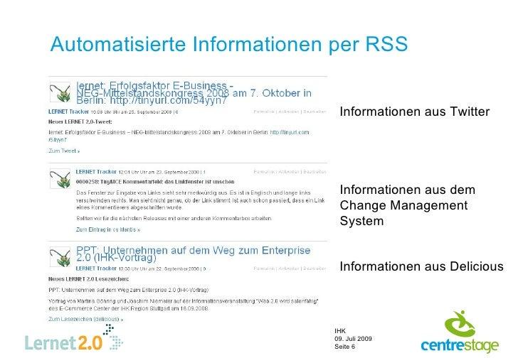 Automatisierte Informationen per RSS                                Informationen aus Twitter                             ...