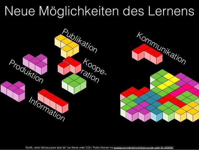 """Neue Möglichkeiten des Lernens  Information  Kommunikation  Produktion  Publikation  Koope-ration  Grafik: """"tetris blöcke ..."""