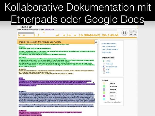 Kollaborative Dokumentation mit  Etherpads oder Google Docs