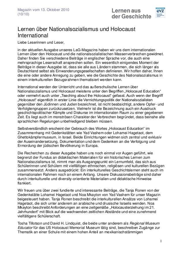 Magazin vom 13. Oktober 2010 (10/10) 1 Lernen über Nationalsozialismus und Holocaust International Liebe Leserinnen und Le...