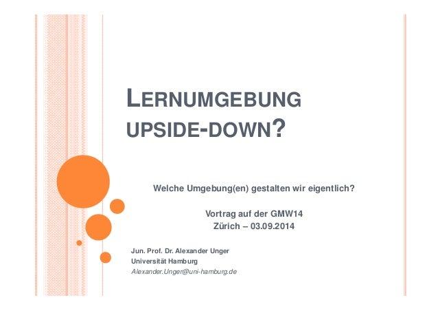 LERNUMGEBUNG  UPSIDE-DOWN?  Welche Umgebung(en) gestalten wir eigentlich?  Vortrag auf der GMW14  Zürich – 03.09.2014  Jun...