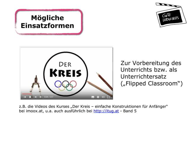 """Mögliche Einsatzformen Zur Vorbereitung des Unterrichts bzw. als Unterrichtersatz (""""Flipped Classroom"""") z.B. die Videos de..."""