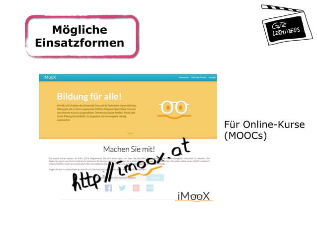 Mögliche Einsatzformen Für Online-Kurse (MOOCs)