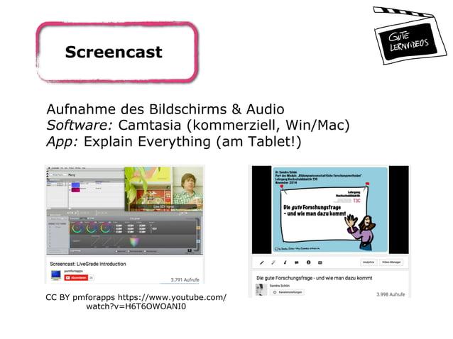 Screencast Aufnahme des Bildschirms & Audio Software: Camtasia (kommerziell, Win/Mac) App: Explain Everything (am Tablet!)...