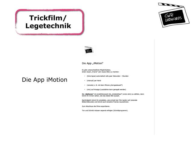 Trickfilm/ Legetechnik Die App iMotion