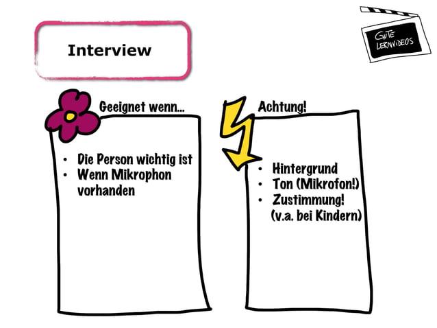 Interview Geeignet wenn... Achtung! • Die Person wichtig ist • Wenn Mikrophon vorhanden • Hintergrund • Ton (Mikrofon!...