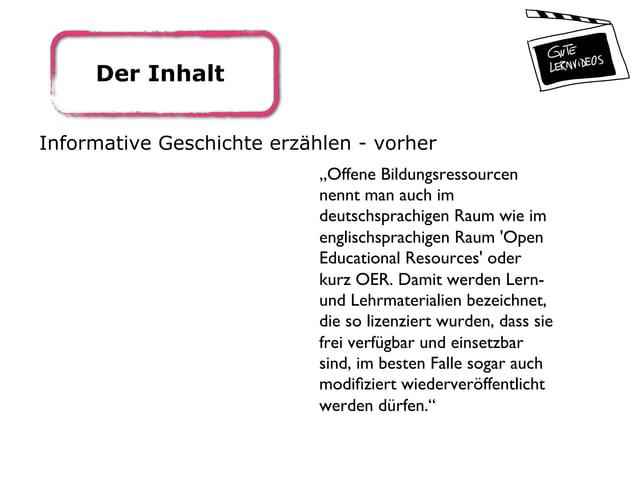 """Der Inhalt Informative Geschichte erzählen - vorher """"Offene Bildungsressourcen nennt man auch im deutschsprachigen Raum wi..."""