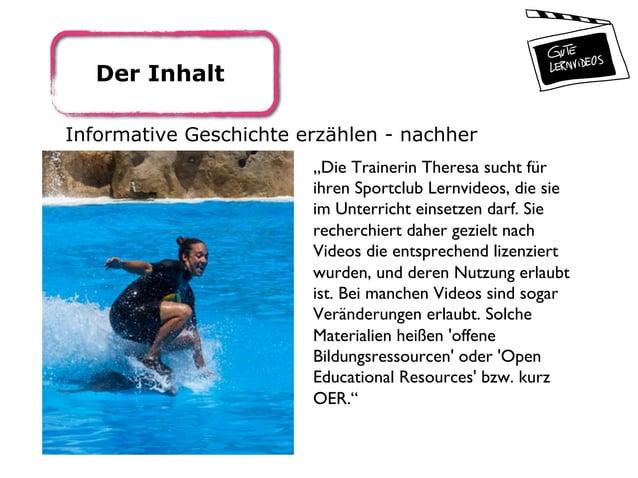 """Der Inhalt Informative Geschichte erzählen - nachher """"Die Trainerin Theresa sucht für ihren Sportclub Lernvideos, die sie ..."""