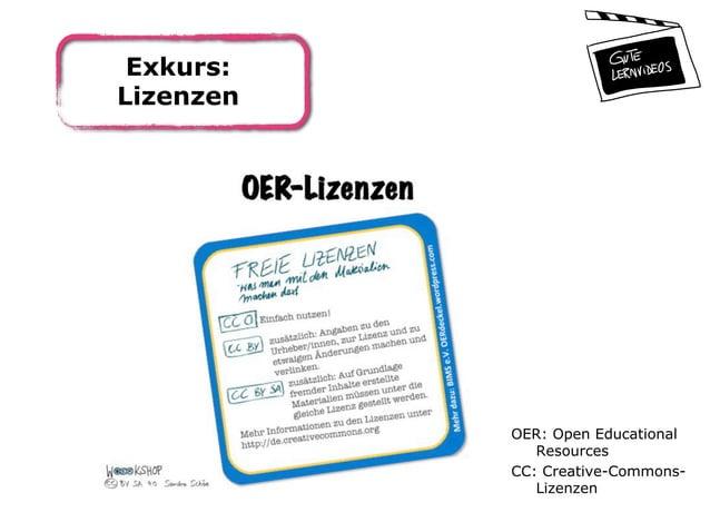 Exkurs: Lizenzen OER: Open Educational Resources CC: Creative-Commons- Lizenzen
