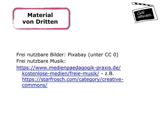 Material von Dritten Frei nutzbare Bilder: Pixabay (unter CC 0) Frei nutzbare Musik: https://www.medienpaedagogik-praxis.d...