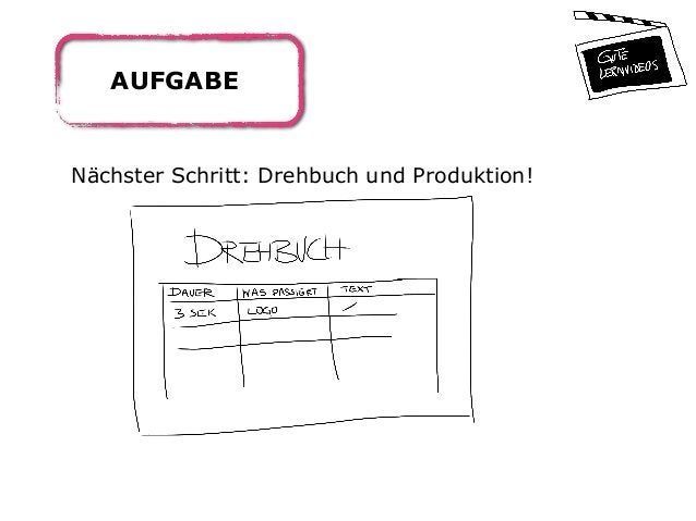 AUFGABE Nächster Schritt: Drehbuch und Produktion!