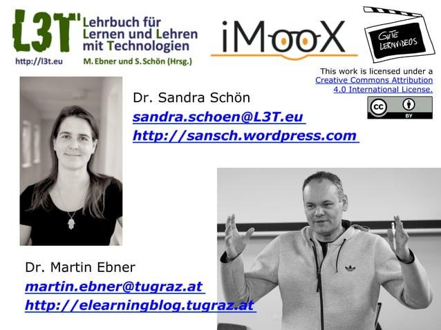 Dr. Sandra Schön sandra.schoen@L3T.eu http://sansch.wordpress.com Dr. Martin Ebner martin.ebner@tugraz.at http://elearning...