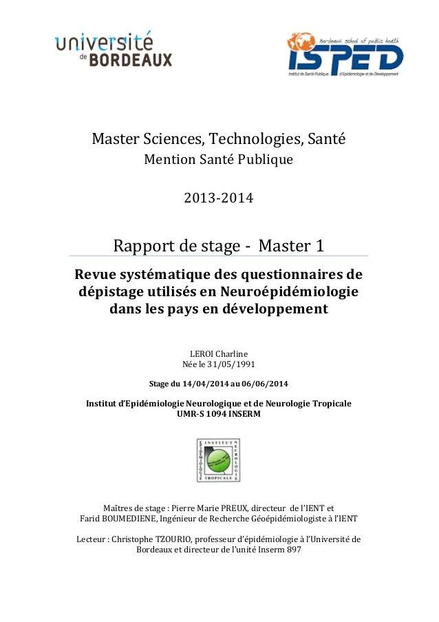 Master Sciences, Technologies, Santé Mention Santé Publique 2013-2014 Rapport de stage - Master 1 Revue systématique des q...