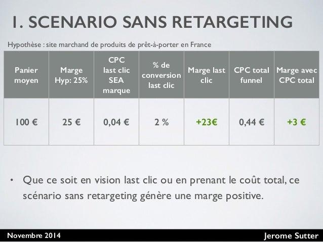 Jerome SutterNovembre 2014 1. SCENARIO SANS RETARGETING • Que ce soit en vision last clic ou en prenant le coût total, ce ...