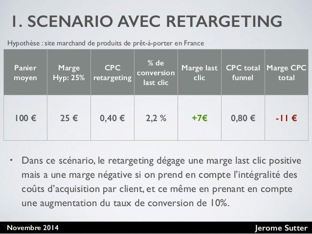 Jerome SutterNovembre 2014 1. SCENARIO AVEC RETARGETING Panier moyen Marge Hyp: 25% CPC retargeting % de conversion last c...