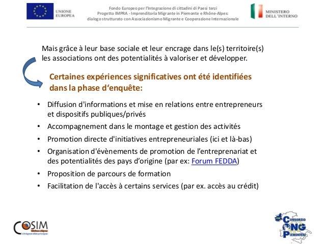 Fondo Europeo per l'Integrazione di cittadini di Paesi terzi Progetto IMPRA - Imprenditoria Migrante in Piemonte e Rhône-A...