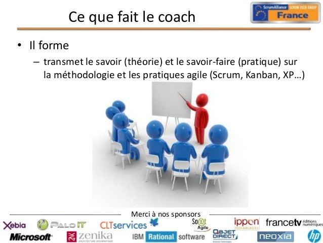 Ce que fait le coach • Il forme – transmet le savoir (théorie) et le savoir-faire (pratique) sur la méthodologie et les pr...