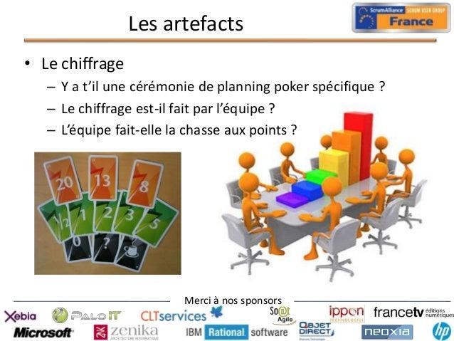 Les artefacts • Le chiffrage – Y a t'il une cérémonie de planning poker spécifique ? – Le chiffrage est-il fait par l'équi...