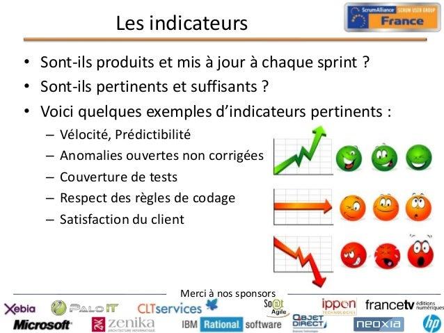 Les indicateurs • Sont-ils produits et mis à jour à chaque sprint ? • Sont-ils pertinents et suffisants ? • Voici quelques...