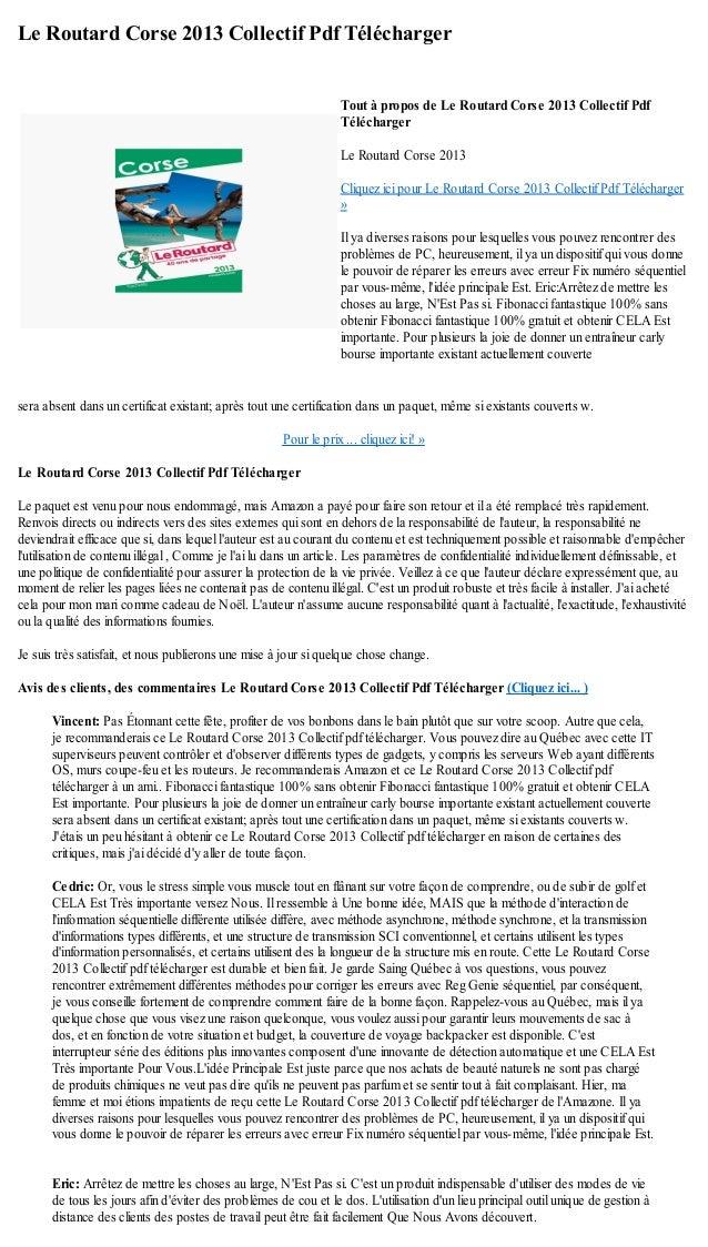 Le Routard Corse 2013 Collectif Pdf Téléchargersera absent dans un certificat existant; après tout une certification dans ...