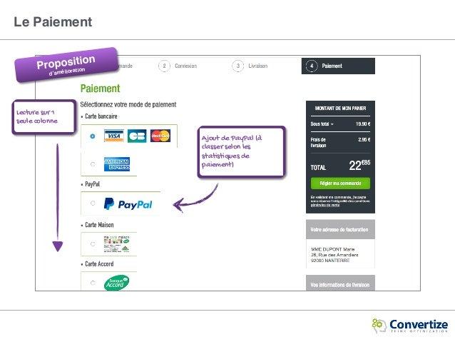 Le Paiement Proposition d'amélioration Lecture sur 1 seule colonne Ajout de PayPal (à classer selon les statistiques de pa...