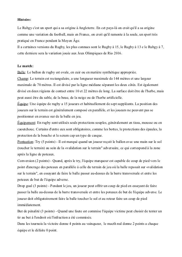 Histoire:Le Rubgy cest un sport qui a sa origine à Angleterre. En cet pays-là on croit quil a sa originecomme une variatio...
