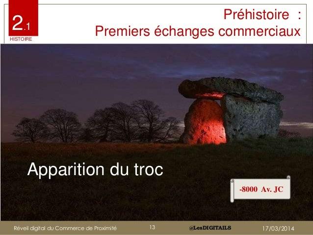 @LesDIGITAILS@LesDIGITAILS Apparition du troc -8000 Av. JC 2.1 HISTOIRE Préhistoire : Premiers échanges commerciaux Réveil...