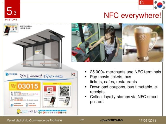 @LesDIGITAILS@LesDIGITAILS NFC everywhere!  25,000+ merchants use NFC terminals  Pay movie tickets, bus tickets, cafes, ...