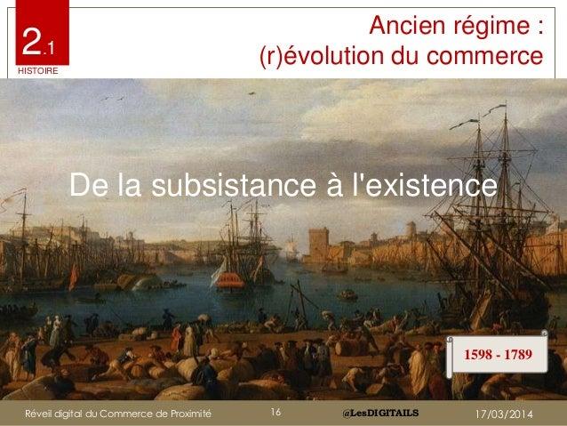 @LesDIGITAILS@LesDIGITAILS Ancien régime : (r)évolution du commerce De la subsistance à l'existence 1598 - 1789 2.1 HISTOI...