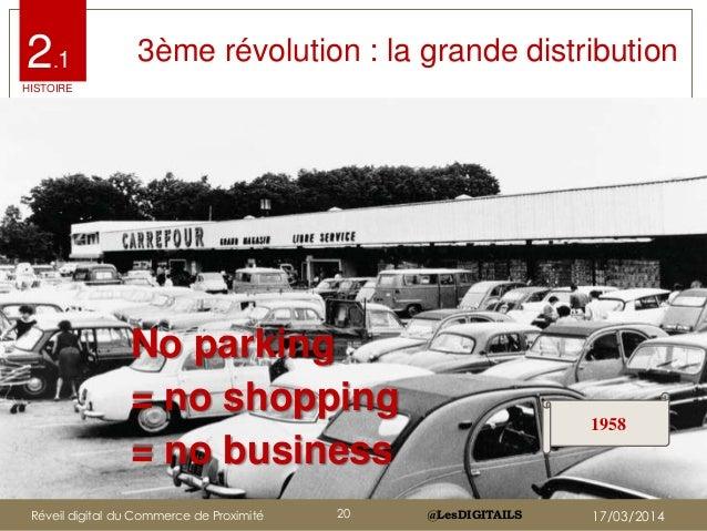 @LesDIGITAILS@LesDIGITAILS 3ème révolution : la grande distribution No parking = no shopping = no business 1958 2.1 HISTOI...