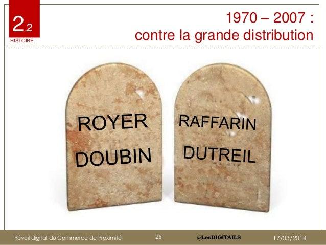 @LesDIGITAILS@LesDIGITAILS 1970 – 2007 : contre la grande distribution 2.2 HISTOIRE Réveil digital du Commerce de Proximit...