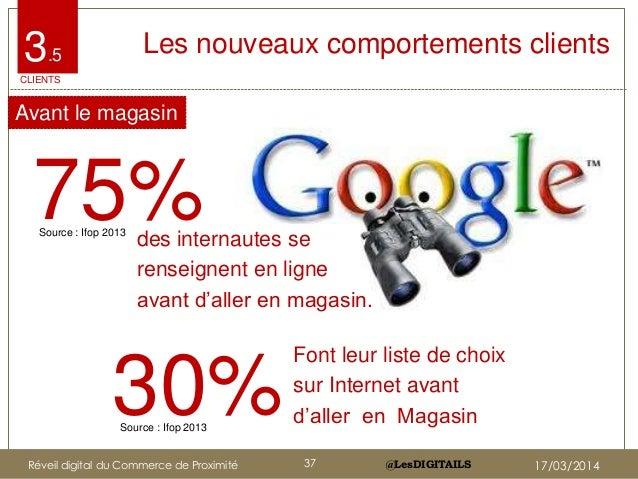 """@LesDIGITAILS@LesDIGITAILS 3.5 Les nouveaux comportements clients 75%des internautes se renseignent en ligne avant d""""aller..."""