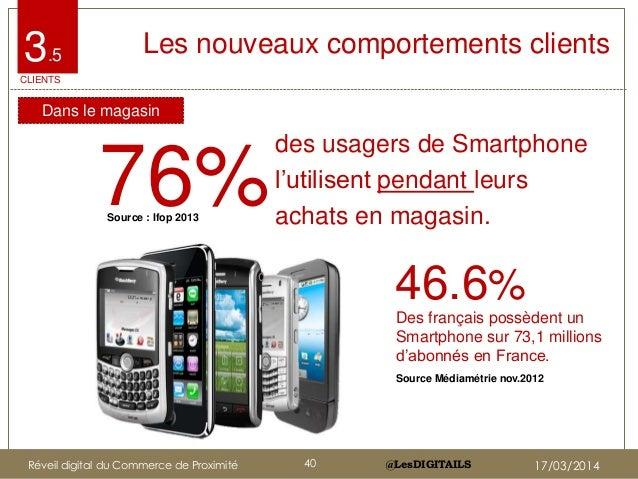 """@LesDIGITAILS@LesDIGITAILS 76% des usagers de Smartphone l""""utilisent pendant leurs achats en magasin. Les nouveaux comport..."""