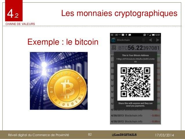 @LesDIGITAILS@LesDIGITAILS Les monnaies cryptographiques • Exemple : le bitcoin 4.2 CHAINE DE VALEURS Réveil digital du Co...