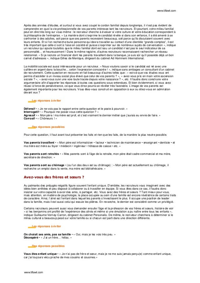 Les 100 Questions Classiques Dun Entretien Dembauche