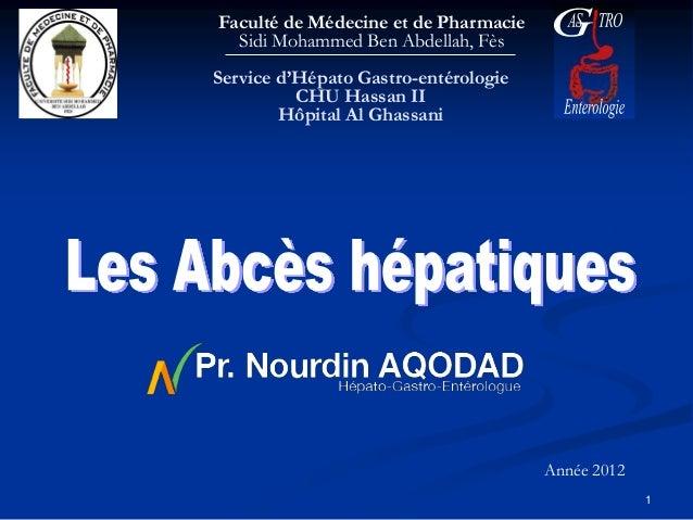 Faculté de Médecine et de Pharmacie  Sidi Mohammed Ben Abdellah, FèsService d'Hépato Gastro-entérologie          CHU Hassa...