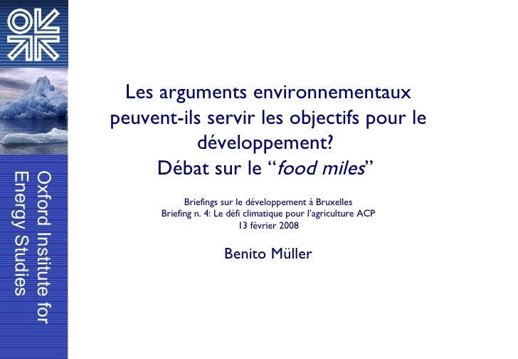 """Les arguments environnementaux peuvent-ils servir les objectifs pour le développement?  Débat sur le """" food miles """"  Brief..."""