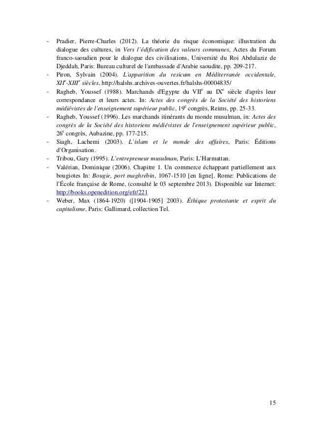 15 - Pradier, Pierre-Charles (2012). La théorie du risque économique: illustration du dialogue des cultures, in Vers l'édi...
