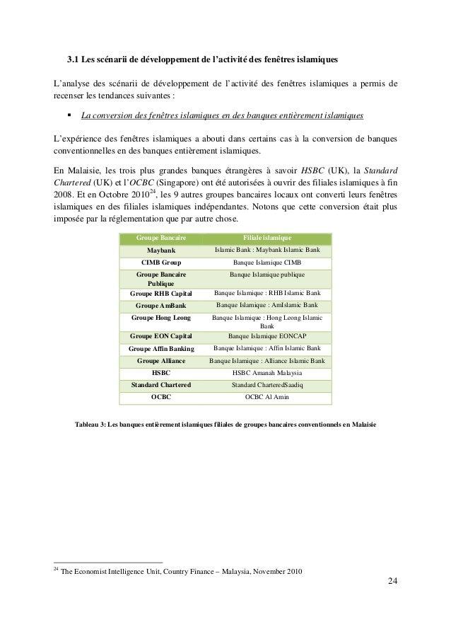 24 3.1 Les scénarii de développement de l'activité des fenêtres islamiques L'analyse des scénarii de développement de l'ac...