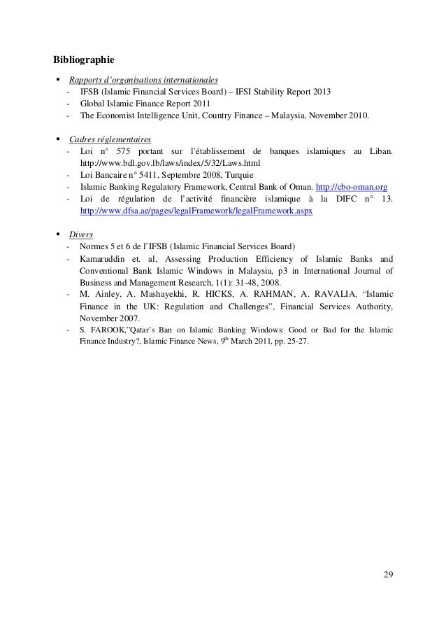 29 Bibliographie Rapports d'organisations internationales - IFSB (Islamic Financial Services Board) – IFSI Stability Repor...