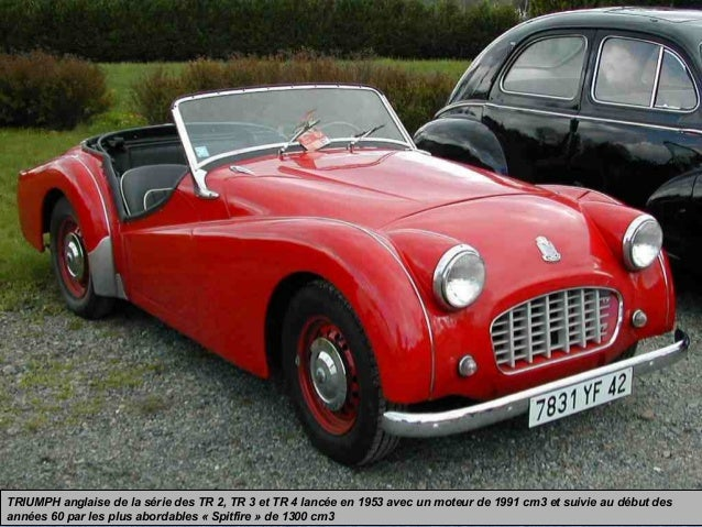 TRIUMPH anglaise de la série des TR 2, TR 3 et TR 4 lancée en 1953 avec un moteur de 1991 cm3 et suivie au début des année...