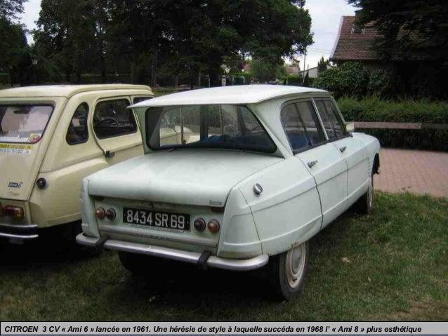 CITROEN 3 CV « Ami 6 » lancée en 1961. Une hérésie de style à laquelle succéda en 1968 l' « Ami 8 » plus esthétique
